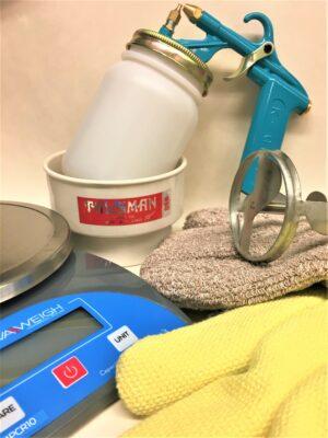 Scales, Gloves, Mixers, Sprayers, etc.